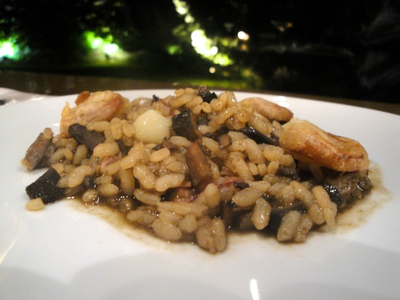 Rice with squid at Les Cols in Olot, Spain