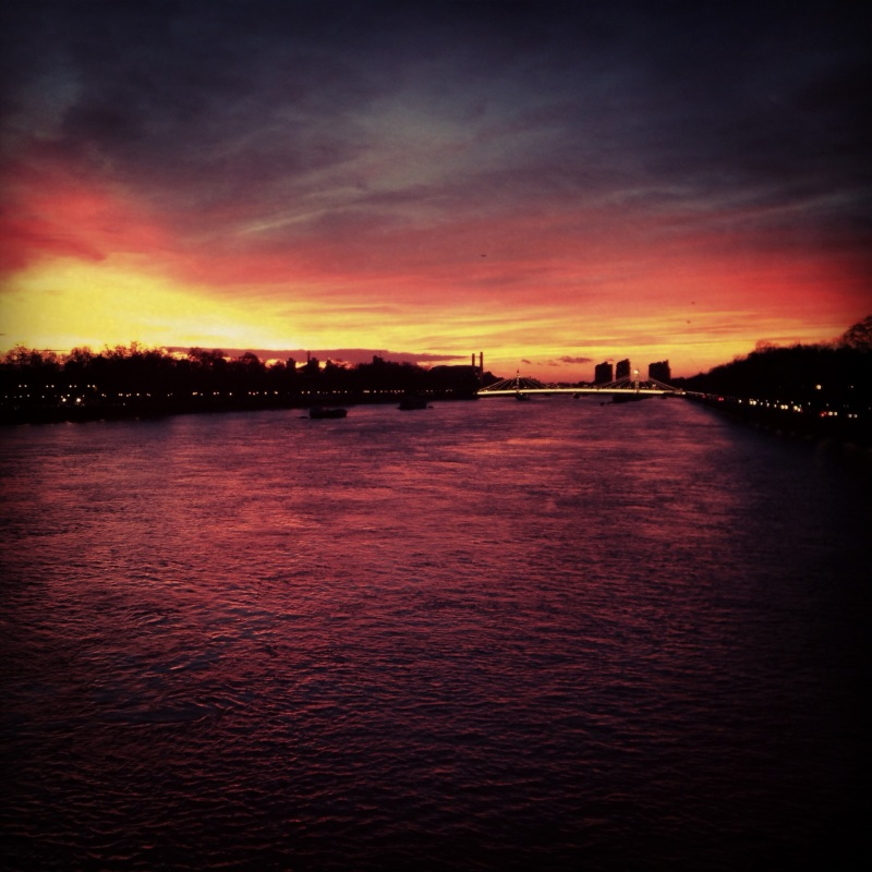 Sunset from Chelsea Bridge, London