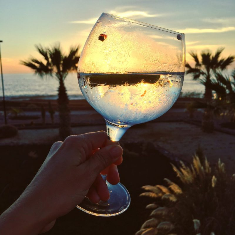 Gin tonic at sunset in Tenerife